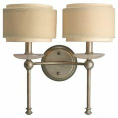 "Sleek and elegant, this wall sconce features slender turned stems topped with quartz-inspired bobeches and linen drum shades for a touch of coastal inspiration.  Product: Wall sconceConstruction Material: Metal and linenColor: Silver ridge and creamAccommodates: (2) 60 Watt candelabra base bulbs - not includedDimensions: 14.25"" H x 15"" W x 8"" D Note: Dimmers can be used with any incandescent or halogen light bulbs"