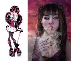 Draculaura From Monster High Cartoon As Anime, Cartoon Kunst, Cartoon Drawings, Cartoon Art, Cute Drawings, Cartoon Characters, Realistic Cartoons, Realistic Drawings, Popular Cartoons