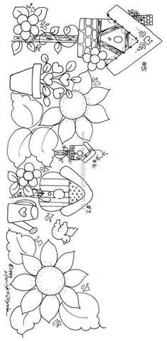 ::ARTESANATO VIRTUAL - Tecnicas de Artesanato | Dicas para Artesanato | Passo a Passo:: Hand Embroidery Patterns, Applique Patterns, Craft Patterns, Embroidery Applique, Embroidery Stitches, Tole Painting, Fabric Painting, Country Paintings, Coloring Book Pages