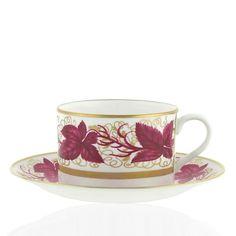 William Yeoward Hampton Court Tea Cup and Saucer Burgundy