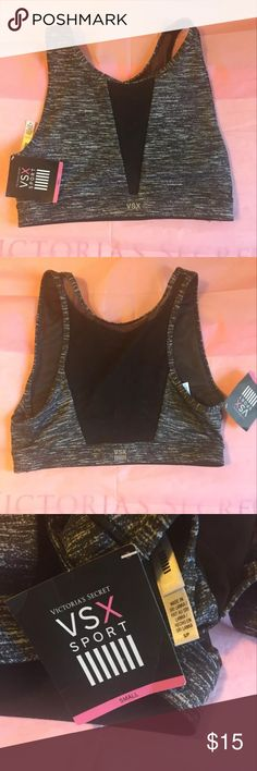Victoria's Secret sports bra Brand new with tags Victoria's Secret sports bra. Does not have padding or an underwire. Pull on style. Mesh panel in the front and back that are see through and light mesh lining through the whole bra. Comes from a smoke free home. If you have any questions or need more pictures please ask! Victoria's Secret Intimates & Sleepwear Bras