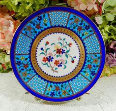 Antique Minton Porcelain Plate Turquoise Gold Encrusted Enamel Flower Beading #Minton