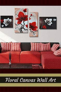 I love floral canvas wall art. It makes rooms look beautiful and spaces feel  warm and inviting. Consider using this  piece of floral wall art in combination with other types of floral #canvas wall  d�cor to create a floral theme based home.  Additiona