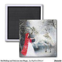 Red Riding and Unicorn Magnet Celtic Fantasy Art, Refrigerator Magnets, Photo Magnets, Unicorn, Red, Painting, Painting Art, A Unicorn, Paintings