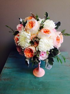Peach and pink and white bouquet