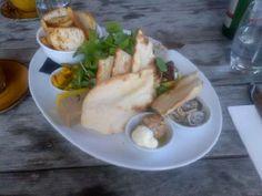 Platter with white anchovies, pork rillettes, duck liver parfait & labna - Whispering Vines Trofeo Estate