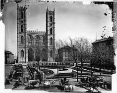 Place d'Armes and Notre Dame Church, Montreal, QC, 1876 Montreal Ville, Montreal Quebec, Photo Vintage, Vintage Photos, Fine Art Prints, Canvas Prints, Park Photography, Wonderful Images, Architecture