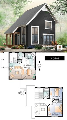 2 bedroom transitional style cottage design, with mezzanine and cathedral ceilin. - 2 bedroom transitional style cottage design, with mezzanine and cathedral ceiling, affordable construction Tiny Cabin Plans, Tiny House Cabin, Tiny Cabins, Tiny House Plans, Tiny Cottages, Small House Plans Under 1000 Sq Ft, Two Bedroom Tiny House, Tiny Home Floor Plans, Small Home Plans
