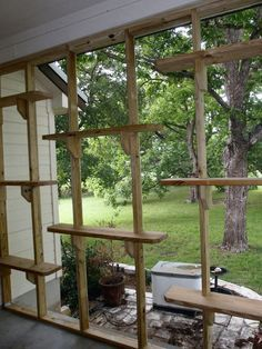 Cat Care The Cat Carpenter Porch Catio - using the screen supports to hold up shelves and perches. I owuld have a couple of them at comfortable height for human use Diy Cat Enclosure, Outdoor Cat Enclosure, Reptile Enclosure, Cat Habitat, Cat Run, Cat Playground, Outdoor Playground, Cat Towers, Gatos Cats