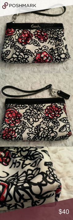 Coach Poppy Wristlet Coach Poppy Wristlet with Patent  Strap Good condition / gently used /some wear on corner and see pic tiny tiny mark Coach  Bags Clutches & Wristlets