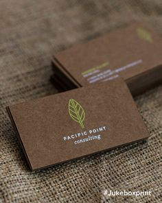 Elegantly produced Brown Kraft Business Cards with White & Neon Green…