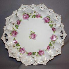Austrian Cake Plate with Roses century Antique Plates, Vintage Plates, Vintage Dishes, Antique China, Vintage China, Decorative Plates, Porcelain Ceramics, China Porcelain, Cake Stand Decor