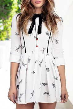 Printed Bowtie Flat Collar Long Sleeves Dress