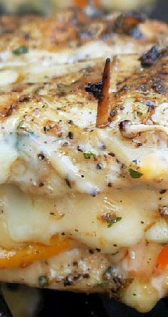 Grilled Chicken Stuffed with Cheese & Peppers Recipe