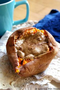 Microwave-Baked SWEET POTATO WITH ALMOND BUTTER AND CINNAMON (#7 in list) --------   I know this sounds odd, but trust me on this one; nut butter with sweet potatoes is a winning combo for both your body and your taste buds. Microwave your sweet potato the night before, and in the morning, split it down the center with a knife, stuff with almond butter, and add touch of cinnamon. It even tastes great cold!