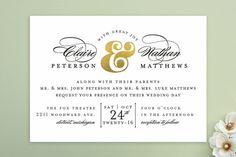 Dapper Amper Wedding Invitations by Snow and Ivy at minted.com. Black and Green(&)