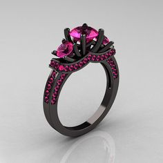 French 14K Black Gold Three Stone Pink Sapphire by artmasters, $1849.00