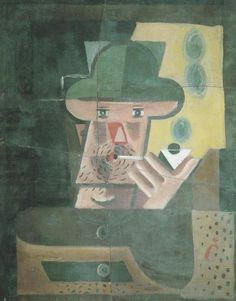 Josef Capek - Man with a Pipe (deferred painting), 1920  Oil on canvas  45 x 55 cm  private collection