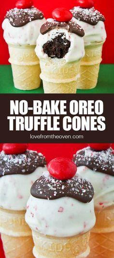 Take easy no-bake Oreo Truffles to a whole new level by making them into mini oreo truffle cones! I find these are easier to make than cake pops as they are perfect with the mini cones. Oven Recipes, Baking Recipes, Dessert Recipes, Best Christmas Recipes, Christmas Desserts, Delicious Desserts, Yummy Food, Mini Oreo, Oreo Truffles