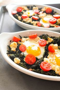 Baked Eggs with Ricotta & Kale