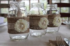 Shabby Chic Burlap Lace and Flower Mason by RusticCottageDesigns, $9.00