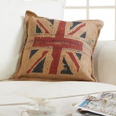 """I love pillows made from burlap, rough linen, canvas.....and I love this one!  Would be very cute in a little boy's room.    Carleton Varney 18"""" Union Jack Decorative Pillow at HSN.com."""
