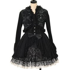 Frill black embroidery jumper skirt + hooded cardigan set  h.NAOTO  https://www.wunderwelt.jp/en/products/w-27674    Worldwide shipping available ♪   How to order ↓  https://www.wunderwelt.jp/en/shopping_guide  * Japanese online shop for second-hand Lolita Fashion *Wunderwelt *