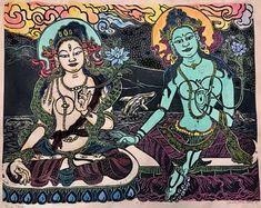 Two Taras Green Tara White Tara Goddess of loving kindness Tara Goddess, Goddess Of Love, Thangka Painting, Stone Gallery, Green Tara, Monkey King, Elephant Head, Hindu Art, Buddhist Art