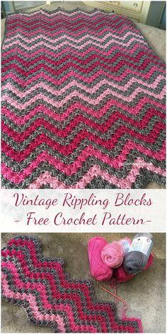 Vintage Rippling Blocks - Free Crochet Pattern #crochet #freepattern #vintage #rippling