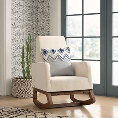 Pleasing Bethany Mid Century Fabric Rocking Chair Nursery Rocking Ibusinesslaw Wood Chair Design Ideas Ibusinesslaworg