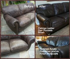 I Dyed My 10 Year Old Natuzzi Leather Sofa Using Feibings Dye In Chocolate Brown The Came Out Quite Dark But It Was Super Easy To Use