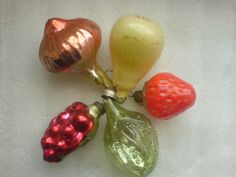 Set 5 Vintage USSR Russian Christmas Glass Tree Ornament Decoration