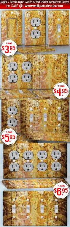 DIY Do It Yourself Home Decor - Easy to apply wall plate wraps | Retro Paint Yellow flower pattern wallplate skin stickers for single, double, triple and quadruple Toggle and Decora Light Switches, Wall Socket Duplex Receptacles, and blank decals without inside cuts for special outlets | On SALE now only $3.95 - $6.95