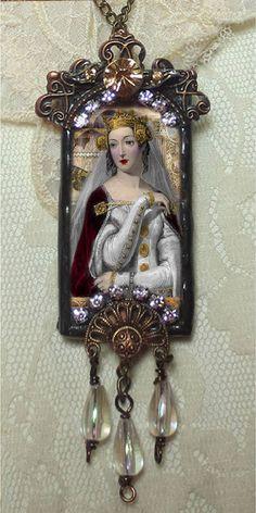 Glass Slide Pendant, Soldered Glass Pendant, Soldered Jewelry Pendant, Vintage Queen
