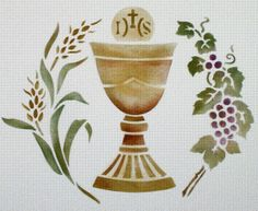 Host, grapes, wheat, and chalice