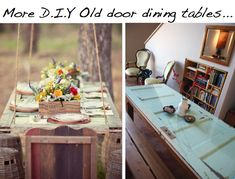 diy old door dining tables, totally going to make one for my dinning room Old Door Tables, Door Dining Table, Dinning Room Tables, Porta Diy, Reclaimed Doors, Hanging Table, Diy Casa, Old Doors, Diy Door