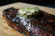 Grilled Wagyu Strip Steak with Flavored Compound Butter Recipe Grilled Strip Steak Recipe, Beef Steak Recipes, Grilled Meat, Grilling Tips, Grilling Recipes, Marijuana Recipes, Garlic Butter Steak, Butter Ingredients, Compound Butter