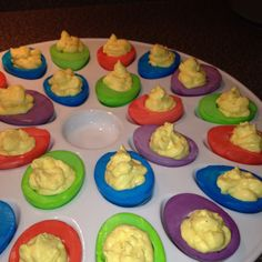 I made Easter style deviled eggs.  So fun!