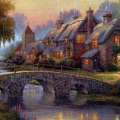 Village By The River~ Thomas Kinkade Art