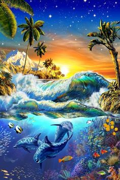 Picture This-surf And Sea Animals Digital Panel x Cotton Fabric by Robert Kaufman Dieses Bild-Brandung und Meerestiere Digital Panel 24 Underwater Animals, Underwater Art, Ocean Art, Ocean Life, Beach Themed Quilts, Dolphin Art, Beautiful Nature Wallpaper, Beautiful Scenery, Fantasy Landscape