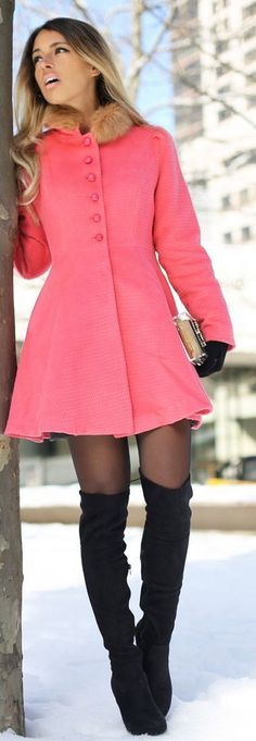 2. A-line coat   How to Wear Over the Knee Boots
