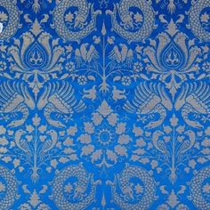 ROYAL BLUE  Griffin Gryphon BROCADE FABRIC