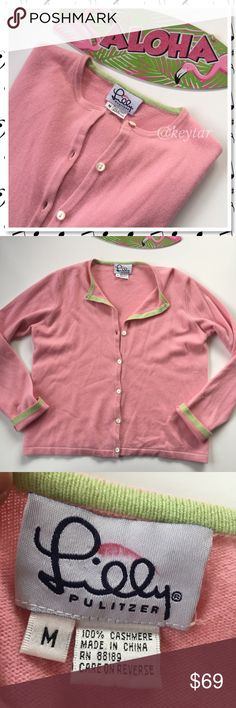 Lilly Pulitzer Cashmere Cardigan Sweater💗HP💗 Early 2000's vintage Lilly Pulitzer pink cashmere button up cardigan sweater. EUC no pilling or damage. Super soft with green piping inside the hems. Looks super cute with the sleeves cuffed to show that pop of green.  Perfect addition to collection for any Lilly lover. Lilly Pulitzer Sweaters Cardigans