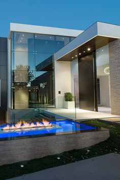 Laurel Way, Beverly Hills, by Whipple Russell Architects huge glass windows modern mansion