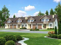 Projekt szeregówki Fasano IV o pow. 148,2 m2 z garażem 1-st., z dachem dwuspadowym, z tarasem, z wykuszem, sprawdź! Small House Design, Small Towns, House Plans, Mansions, House Styles, Home Decor, Mansion Floor Plans, House Template, American Houses