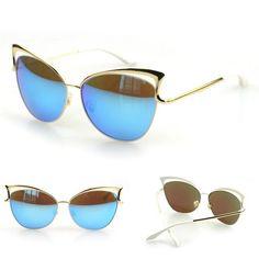 7ce1afebe946 Cat Eye Brand Designer Fashion Blue Lens Beach Sunglasses