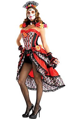 821bec9be4b Adult Day of the Dead Costume Premier Candy Skull Costume