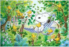 ■300ピースジグソーパズル:スヌーピー 木陰のお昼寝 - 組絵門(くみえもん)