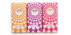 These chocolate bars, designed by Jo Ormiston forLeon Restaurantsbring  life to the party with colorful geometric patterns inspired by traditional  Mediterranean tiles.