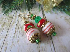 Red Christmas Earrings Green Earrings White by BrownBeaverBeadery